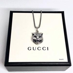 New Gucci Gatto Cat Charm Pendant + Free Chain
